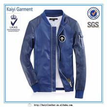 2016 fashion college baseball men casual leather jacket blue