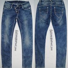 bleach wash Thick thread women jeans