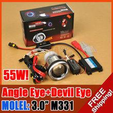 """AC 55W 3.0"""" M331 Motorcycle Bike HID BI-XENON PROJECTOR Angel Devil Eye BALLAST"""