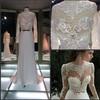 appliqued lace wedding dress / Elegant see through long sleeve back hole appliqued lace wedding dress