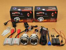 "2x 2.5"" Motorcycle Bike xenon HID BI-XENON Projectors for Motorcycle Lens Kit Halo Angel Devil Eye AC"