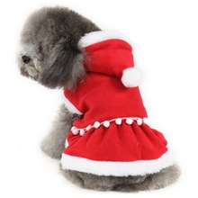 New 2015 Christmas dog clothing cute Girl santa dress pet clothes small medium dog Chihuahua Yorkshire Poodle