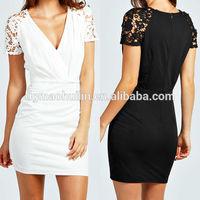 2014 newly design women clothing crochet detail bodycon dresses white china wholesale