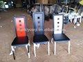 Durável de alta volta faux couro jantar cadeira/pintura em pó de metal cadeira de jantar