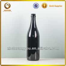 Black 500ml beer glass bottle crown cap