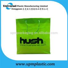Fashion hush green film color flexo printing blockbottom green cotton rope handle plastic pe bag
