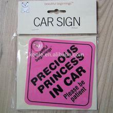 Princess in car plastic car sign with display header card