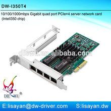 10/100/1000Mbps Intel I350 Gigabit Multi Port RJ45 PCI-E X4 Sever Lan Card