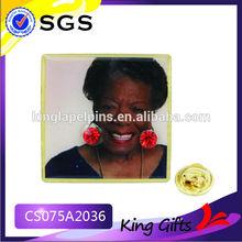 Custom epoxy gold lapel pins with printing woman photo