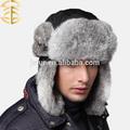 venta al por mayor de invierno de los hombres sombrero de estilo ruso genuino hechos a mano de piel de conejo del sombrero