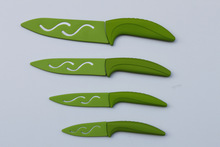 3+4+5+6 green color fantastic design Ceramic Knife with PP blade protector cover in gift box