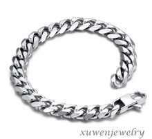 high polished curb link faceted men's 316l stainless steel bicycle chain bracelet