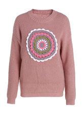 winter hot sale hook knit embroidery long sleeve 9GG acrylic sweatter