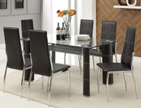 Tempered glass and PVC wrapped legs dining table and chairs FDT-2