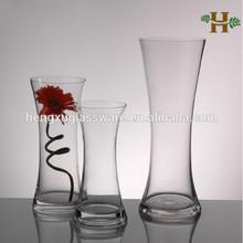 Évasée couleur ouverture taille mince vase en verre, Soufflé hautes verrerie décorative pour l'utilisation de mariage