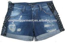 female fashion style ladies denim shorts pants with stud & bead