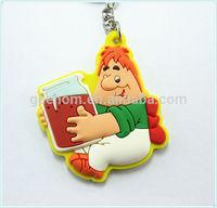 custom advertising gifts rubber keyring 3d plastic keychain