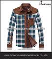 hombres camisa a cuadros coreano de la moda otoño 2014