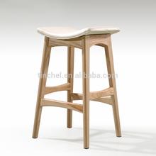 hot sale Europe style wood bar stool ,genuine leather high bar stool T69