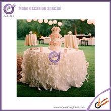 #860 cheap wholesale popular white strips fancy table skirt