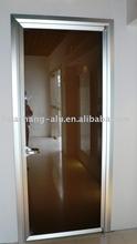 Aluminum polished frames of swing door