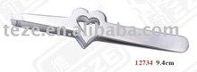 love shape button stainless steel tweezer