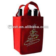 LED felt 4 bottle wine bag with light up