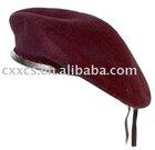 Dark red wool military beret