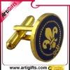 Round gold enamel fashion jewelry cufflink