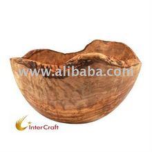 Olive wood Rustic carved fruit and Salad bowl
