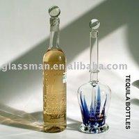 Glass tequila bottle