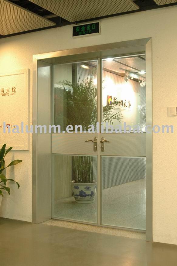 Doble puerta de vidrio con aleaci n de aluminio caso la - Puertas de aluminio doble hoja ...