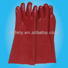 Red Electrical PVC Interlock Lining Coated Fishing CE EN388 Safety Gloves