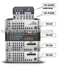 Professional Sound System KTV Mixer Amplifier YK-52US, YK-4200, YK-01, YK-02, YK-03, YK-04