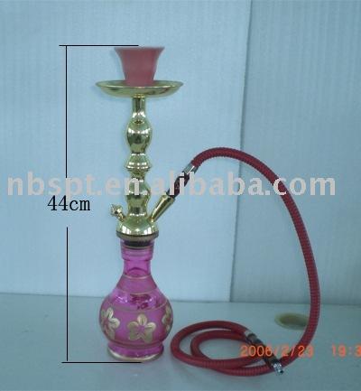 44cm Beautiful Golden Siamesed Shisha With Pink Vase