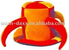 Longhorn carnival hat, Party Hat, Red&Orange pleuche