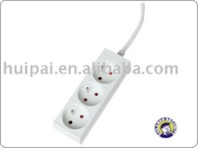 European stand 3ways of French socket extension without switch, with white colour of socket
