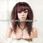fashion human hair highlight red color irregular lace wigs