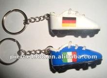 Fashion PVC mini soccer shoe key chain with nation flag printing