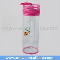 Round PVC Clear Pencil Pouch with Colorful Top