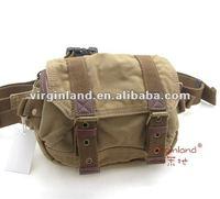 0102 khaki Men's 100% cotton washed canvas waist bag