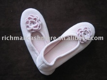 Cashmere Shoes with hand Crochet Flower