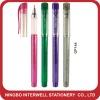 Printing gel ink pen w/soft grip or glitter pen