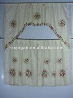 nice embroidered flower kitchen curtain