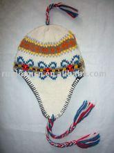 100% acrylic girls winter earflap hat
