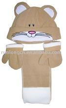 baby' polar fleece scarf hat and gloves