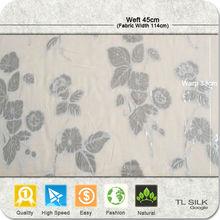 Stock Sliver Flower & Silk Chiffon Background Jacquard Fabric S18
