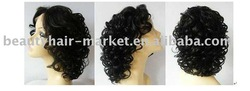 "16"" Synthetic Hair hair front lace Wig--1B#"