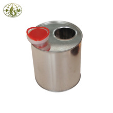 Round can with plastic spout lid