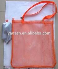 orange nylon mesh shopping bag with foldable